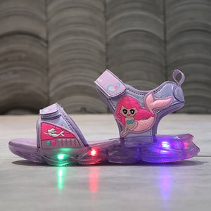 Kids Girls Luminous Sandals Lovely Mermaid Shoes Baby Girl Sandals Summer Kids Led Glowing Sandalias Shoes Chaussure Fille