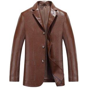 Men Leather Suit 2018 Spring and Autumn Male Sheepskin Suit Tops Genuine Split Leather Slim Jacket Black Brown Coat