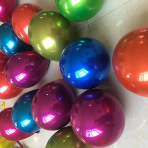 New 50pcs Lot 12inch Double layer Bright Color Inflatable Metal Balloon for Wedding Birthday Party Decorations Air Ball Party Supplies
