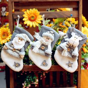 Paño de regalo de la Navidad Medias Bolsas creatividad Santa Claus árbol de Navidad Elk Stocking decorativo 20 * 11 cm Bolsa de Navidad Calcetines envío