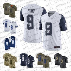 Mens costume das mulheres jovensDallascowboys8 Troy Aikman 9 Tony Romo azul temporada de futebol 100 Vapor limitada Jersey
