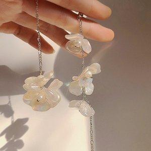 Gioielli MENGJIQIAO 2020 New coreano asimmetrico elegante acrilico Fiore nappa lunga orecchini di goccia per le donne Pendientes partito