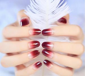 New Red glitter gefälschter Nagel Maniküre langer Entwurf runder Kopf Nagelstreifen 24X / set Full Cover Falsche Nägel für Hochzeit
