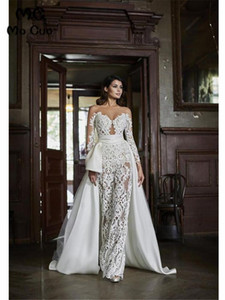 2020 New Lace Wedding Bridal Jumpsuit Dresses Sheer Long Sleeves Appliques Floor Length Bridal Gowns Vestido de festa With Over Skirts