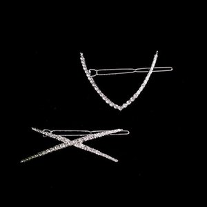 Women Girls Clip Alloy Fashion Decorative Rhinestone Pin Crystal Geometry Hairpin Hair Accessory Beauty Styling Tools