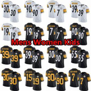 39 Minkah Fitzpatrick Homens Mulheres Youth 19 JuJu Smith-Schuster PittsburghladrõesTJ T.J. Watt James Conner Ben Roethlisberger Jersey