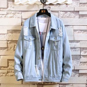 New homens calça jeans mens jaqueta Jaquetas Homens hip hop Man Denim Vintage casaco Jacket Streetwear Chaqueta Hombre
