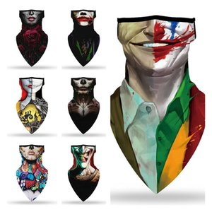 hot Halloween Mask digital printing clown mask outdoo riding mask multi functional triangle towel masks Designer masks T2I51490