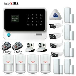 APP Control Wireless Alarm Sensors WIFI Home Surveillance Gsm Alarm kit+Indoor Outdoor Camera+Blue Siren Alarm System