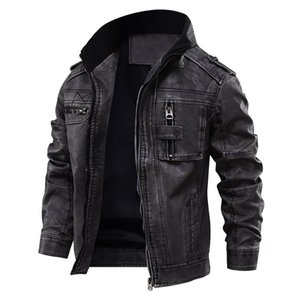 Motorcycle Leather Jacket Men Casual Outwear Fitness Jackets European size Dropshipping 200922