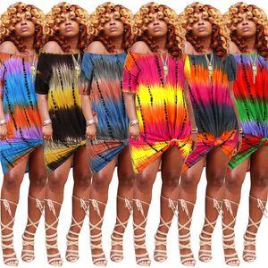 Alta elasticidade Pockets vestido de Womens Designer soltos Tie Dye Shorts Vestidos de cintura alta Sexy Uma Sholuder Moda Feminina