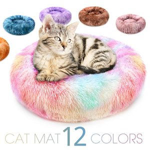 Round Cat Bed Warm Sleeping Cat Nest Soft Long Plush For Dogs Basket Pet Products Cushion Pet Bed Mat House Animals Sofa
