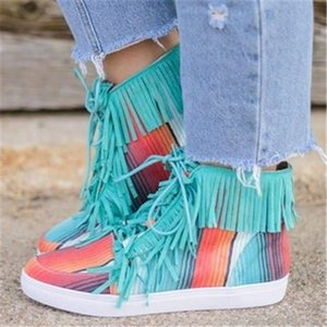 Women's Martin Boots 2020 New All-match High-top Canvas Shoes Spring Short Boots Autumn Leopard Print Tassel Boots Ankle Wedges Punk