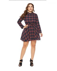 Hasta Panelled mujeres del diseñador que viste camisa ocasional hembras ropa más el tamaño de vestidos de mujeres ocasionales de moda de la tela escocesa de impresión de encaje