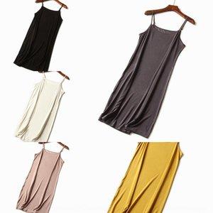 vestito pigiama di cotone bretella delle nuove donne in esecuzione colore solido Abito slingSling fionda spalla di base semplice tracolla regolabile su di Loose Women