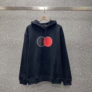 Women's hoodie 2020 autumn and winter new black and red double circle printed letters men and women loose casual hooded sweater size M-2XL