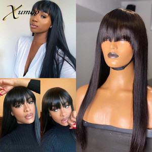 XUMOO Cheap Remy Brazilian Hair Wigs Black Color Straight Human Hair Wigs With Bangs None Lace For Black Women
