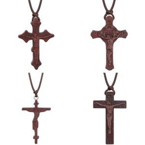 INRI Christian Cruz Vermelha Madeira Umbila Colar ortodoxo Crucifixo Jesus Pendant colares para homens Chains corda de couro ajustável