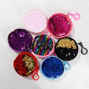Kinder S Pailletten Tragbare Kopfhörer Speicher Geldbörse Schlüsselanhänger Handtasche Mädchen Double Color Schlüsseltasche Zipper-Beutel-Handtasche 7 Farben E9901