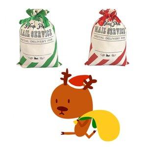 كيف عيد الميلاد حقائب الأحمر مخطط كيس حقائب سانتا كيس الرباط حقيبة قماش حقيبة كاندي عيد الميلاد حزب زينة SuppliesT2I51423