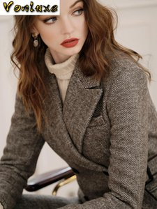 Vintage Wolle Anzug Frau eleganten Qualitäts-Art- und Chic zweireihige Blazer-Mantel-Wide Leg Pants Pantsuit 2-teiliges Set