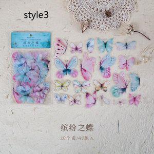 Borboleta 40pcs pacote de adesivos Diário Sealing etiqueta da etiqueta do decalque do curso etiqueta DIY Scrapbooking Diário planejador Álbuns Decoração bbywsh
