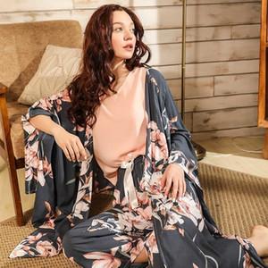 Ladies Floral Printed Deep Grey Elegant Sleepwear Women Wide Sleeve Loose 4Pcs Pajamas Set Soft Homewear Casual Wear For Spring 200919