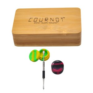 Silicone Wax Jar Metal Dabber Tool With Wood Storage Case Wax Dabber Tool Set For Glass Hookah Wax Smoking Accessories