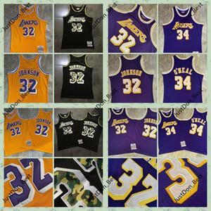 رجل ماجيكجونسون 32 1984-85 شاكيل س نيل 34 1996-97 لوس أنجلوسليكرزقمصان ميتشل نيس مخيط كرة السلة جيرسي