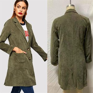 Clothing Women Designer Winter Coats Army Green Buttons Pockets Women Trench Coat Long Style Casual Female