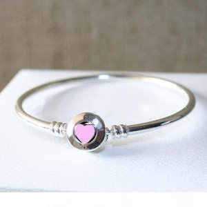 Women's Fashion Luxury Bangle 925 Sterling Silver Pink Heart Enamel Bracelet Original box for Pandora Charms European Beads Jewelry DIY