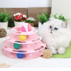 مضحك القطة الأليفة الدوار لعبة الكرة المجنونة ثلاث طبقات التفاعلية تسلية لعبة القرص الثلاثي ثلاثي الطبقات اللوازم الدوار الحيوانات الأليفة