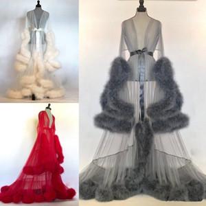 Las mujeres atractiva del invierno atractivo de la piel de imitación de las mujeres ropa de dormir Señora Albornoz Sheer camisón rojo gris blanco del traje de fiesta de dama Shawel