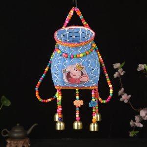 x5Zyv Etnik stil Nakış nationalitybackbasket Bell sekiz karakterden oluşan çiçek rattan fishbas ölüm çocuk Bell vatandaşlık çiğnenmiş