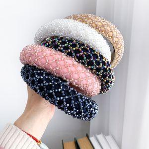 Bunte Kristall Stirnband für Frau Luxus Handgemachte Perlen Schwamm Haarband Braut Hochzeitsfest Stirnbänder