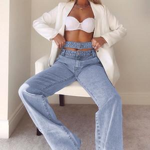 데님 와이드 다리 조깅 캐주얼을 포켓 헐렁한 스트레이트 팬츠를 들어 느슨한 높은 허리 청바지 바지 밖으로 여성 중공