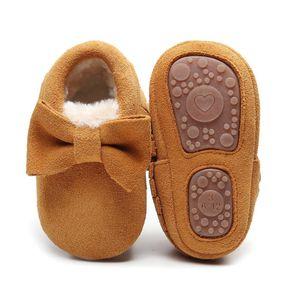 جديد شتاء الأطفال الشامواه أحذية جلدية حقيقية أحذية حزب الطفل الرضيع طفل الأخفاف القوس هامش المطاط الصلب