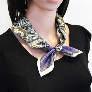 POBING 100% reine Seide Schal Frauen Retro Cashew Foulards Kleiner Kopf Handkerchief Großhandel Foulards Hijab Wraps 53CM Drucken