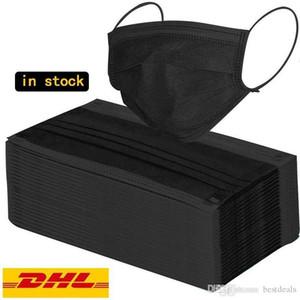 DHL Livraison gratuite partie masque noir PM2.5 résistant à la poussière de masque d'impression numérique lavable Masques réglable tour d'oreille