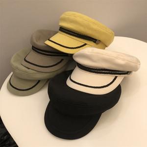 Fashion New Cap England Retro Octagonal Cap Black All Suit Berets Button Rope Hats For Men Women