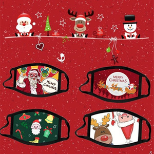 DHL Merry Christmas 2020 Kids Adult Cotton Designer Masks Black Lovely Line Washable Anime Xmas Santa Claus Elks Snowman Face Mouth Mask