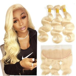 H 613 Brazilian Body Wave Hair With 4x13 Frontal Closure 3 Bundles Blonde Human Hair Extensions With Lace Frontal Body Wave