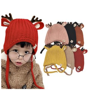 Christmas Hats Toddler Baby Boys Girls Christmas Elk Ears Warm Winter Beanie Woolen Hat Cap Knitted Hat Kid Xmas Party Dress up