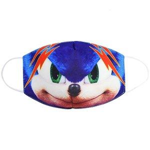 Sônica reutilizável engraçado the Hedgehog 3d Impresso crianças à prova de poeira Poeira meia máscara Outdoor Máscaras