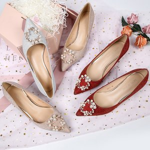 Autumn Wedding Shoes Women Pearls Beading Sequined Cloth 3.5 5 6.5cm High Heels Pinted Toe Party Elegant Solid Red Silver Gold