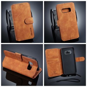 DG.MING Vintage Leather Wallet Case For Huawei P30 Pro Galaxy S10 S10e S10+ Note9 Note 8 S9 Plus S8 Retro Oil Flip Cover Slot ID Stand Strap