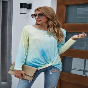 Fashion Tie-Dye Gradient Frauen-Frühlings-Herbst-lange Hülsen-Spitze T-Shirts Designer-Rundhalsausschnitt geknotete Causal Sport Damenbekleidung S-XXL LY910