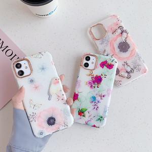 Durable plaqué or Fleurs Oiseau galvanoplastie Herbe Cas Motif de téléphone pour iPhone 11 Pro XS MAX XR X 8 7 plus