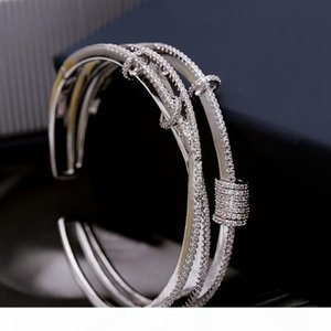 Silver Micro Inlaid Zircon Multilayer Smart Ring Bracelet Opening Design Screw Cap Opening Simple and Stylish Bangle ZK40