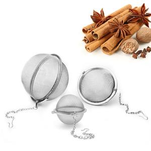 Acero inoxidable del pote del té Infuser Esfera de bloqueo de la especia de la bola de té colador de malla Infuser del tamiz del té Filtro Infusor de envío